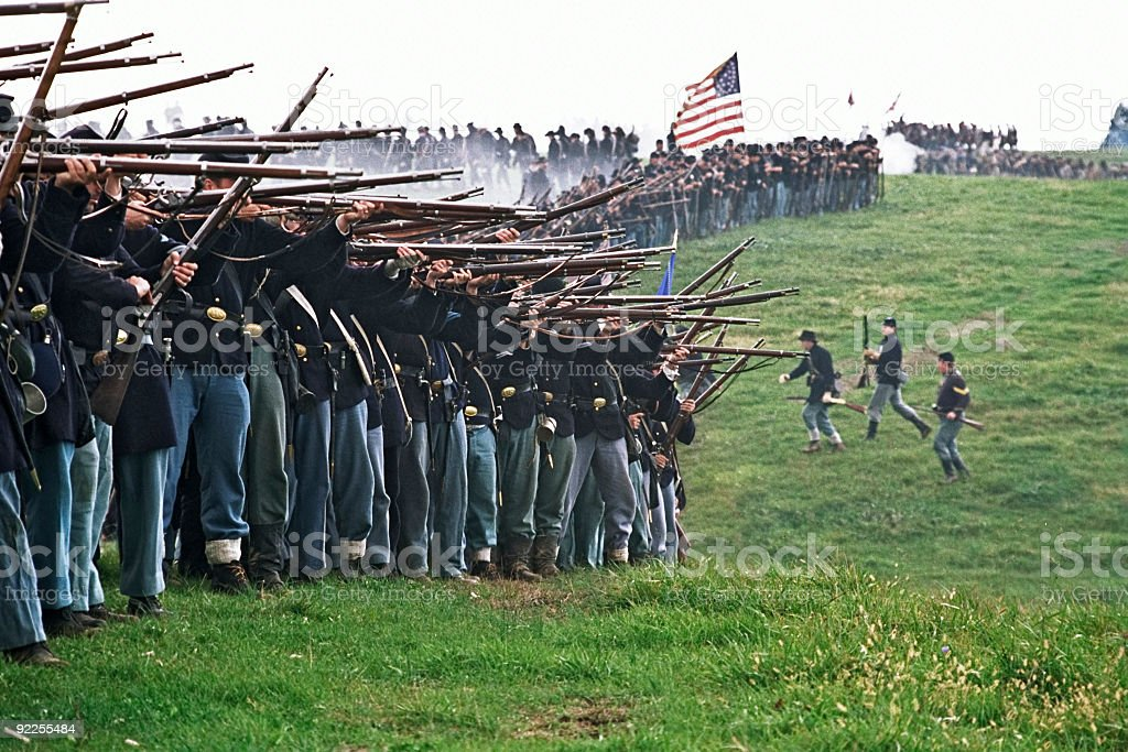 US Civil War Infantry Line of Battle Shenandoah Valley Virginia stock photo