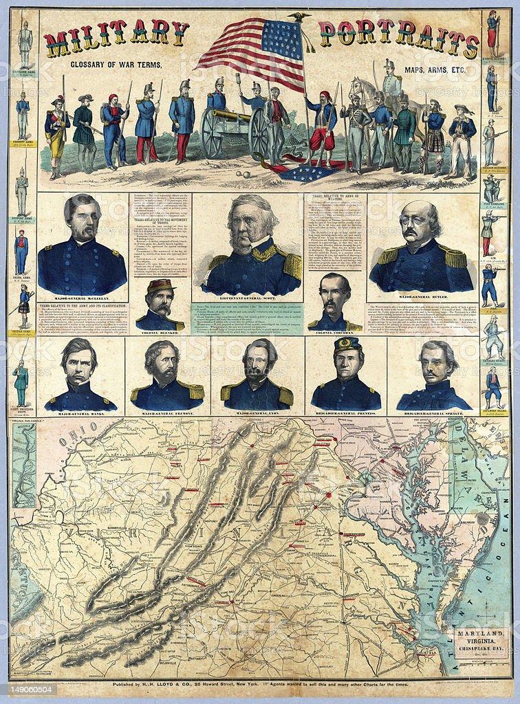 US Civil War map stock photo