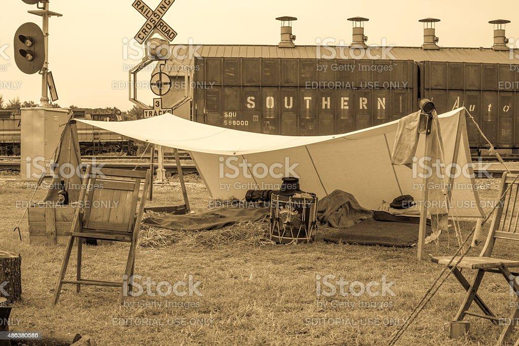Civil War Reenactment Camp Photo 1 stock photo