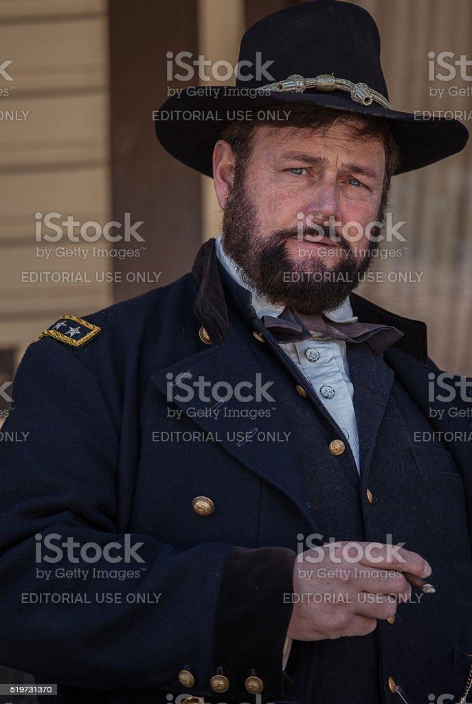 Civil War re-enactor as General Ulysses S. Grant stock photo