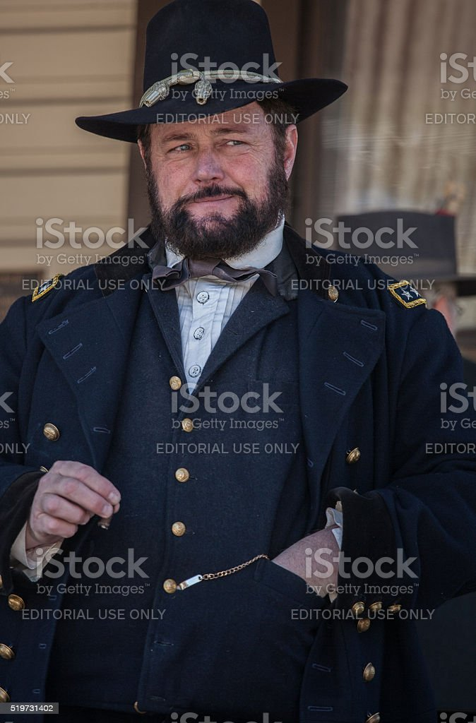 Civil War re-enactor as General Ulysses S. Grant stock photo