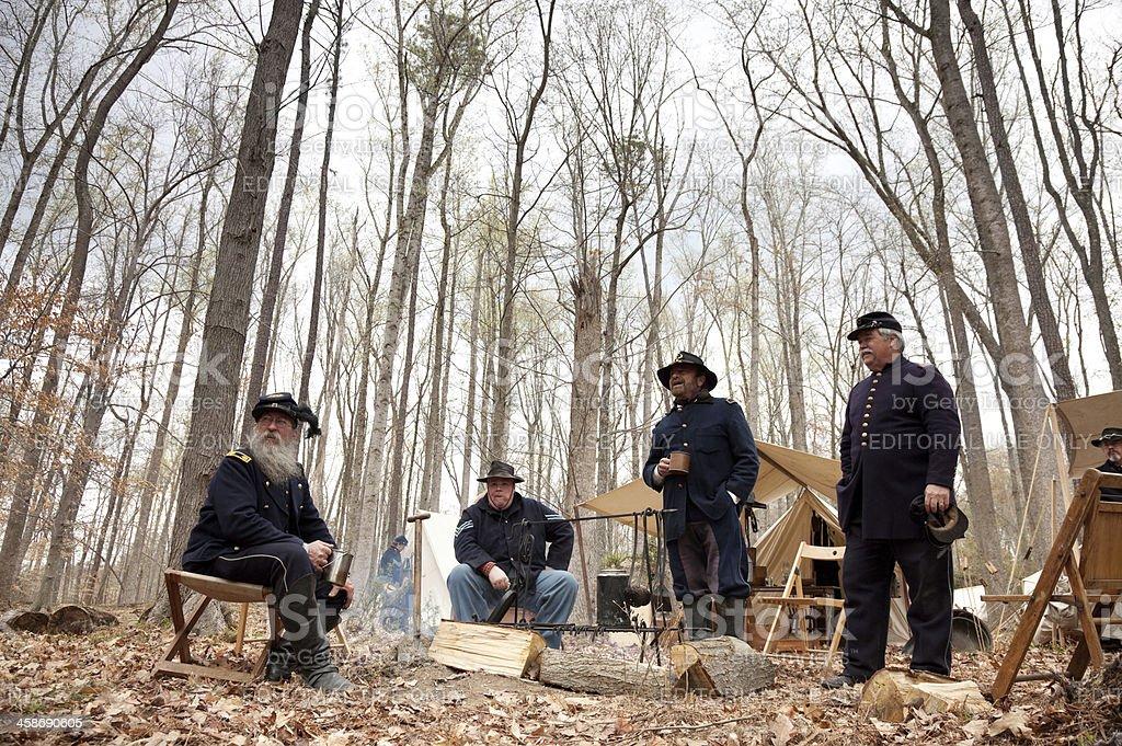 Civil War Reenactors - Around the Campfire royalty-free stock photo