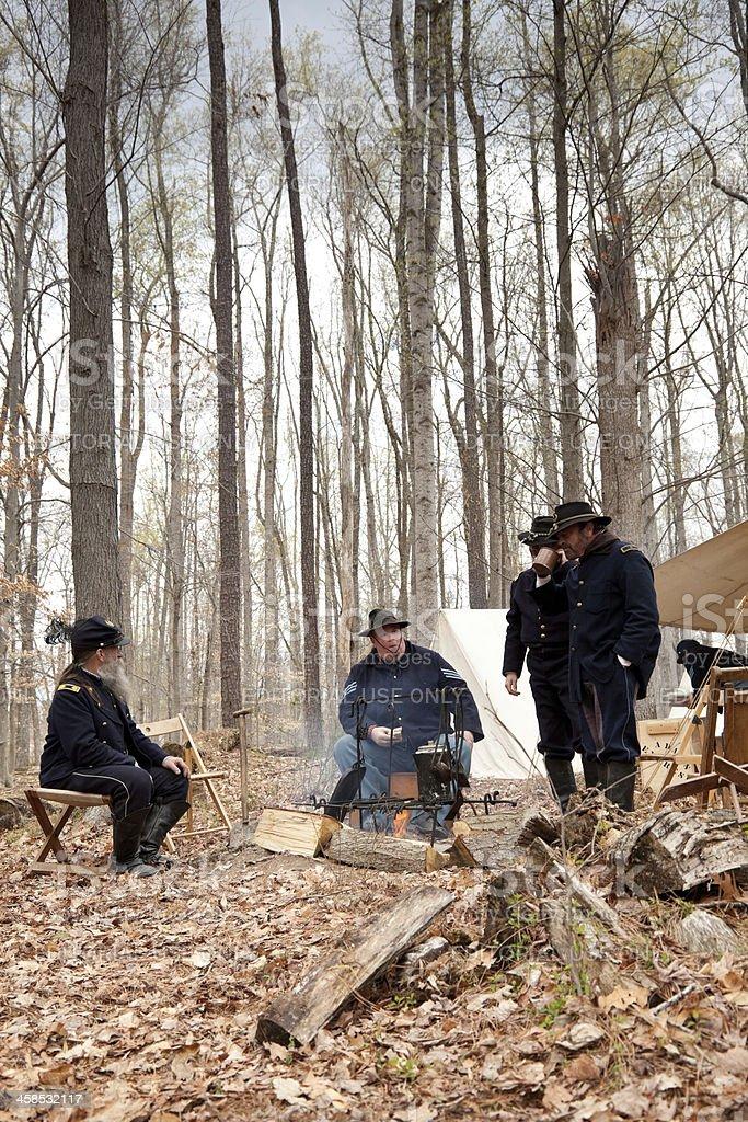 Civil War Reenactors - Campfire Gathering royalty-free stock photo