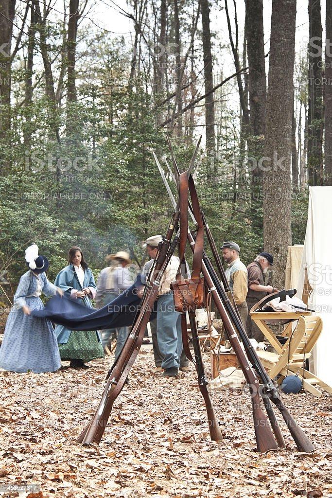 Civil War Reenactors - Domestic Duties royalty-free stock photo