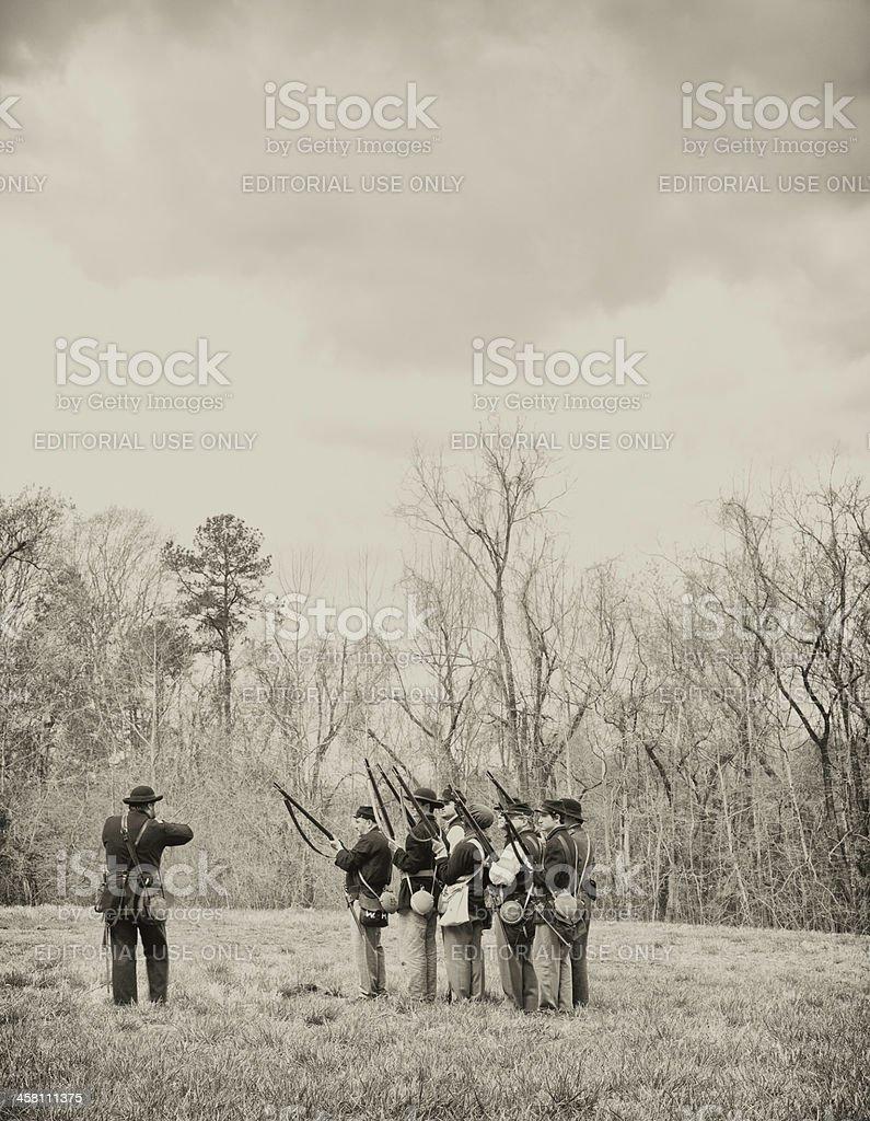Civil War Reenactors - Rifles Ready royalty-free stock photo