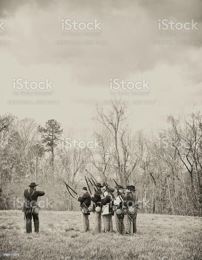 Civil War Reenactors - Rifles Ready stock photo