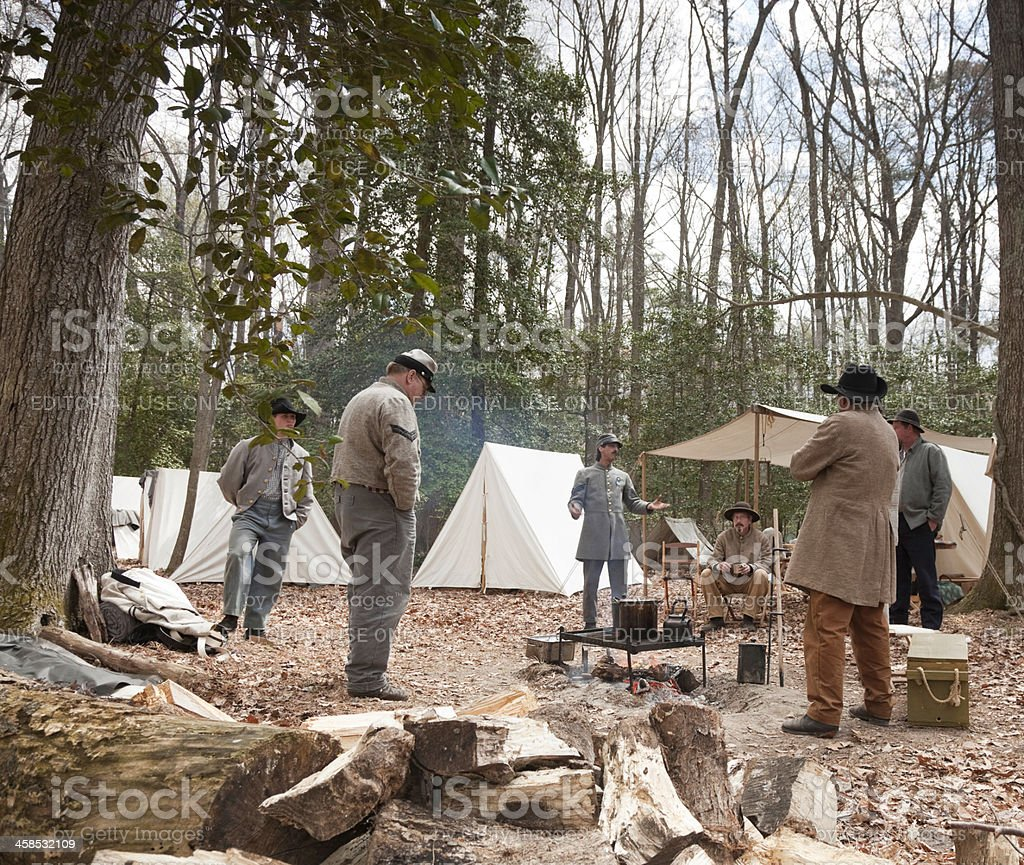 Civil War Reenactors - Socializing Around the Campfire stock photo