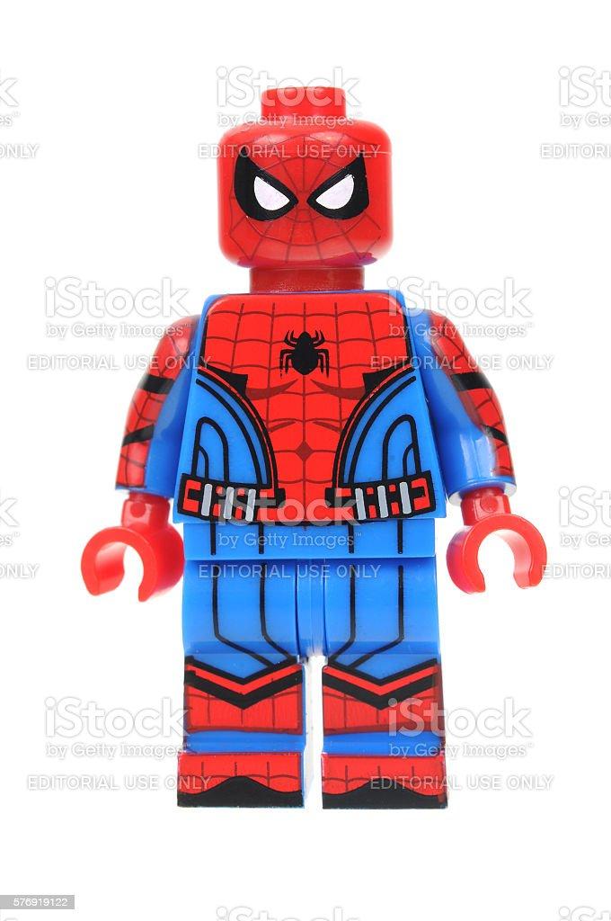 Civil War Spiderman Lego Minifigure stock photo