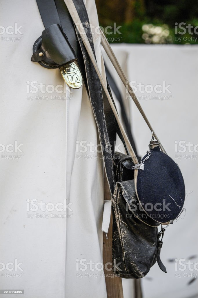 Civil war tent camp detail stock photo