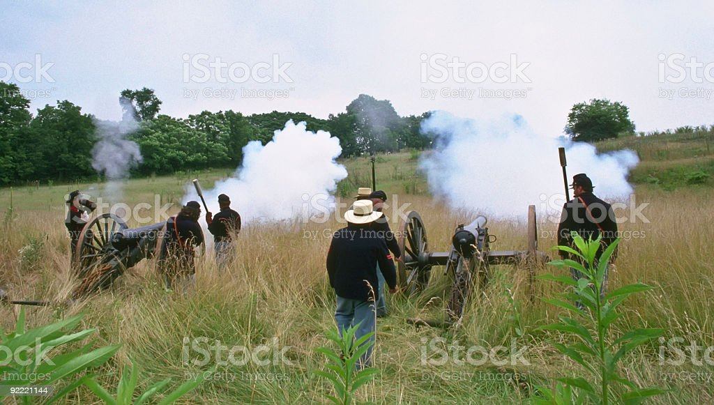 US Civil War Union Artillery Fire at Confederates stock photo