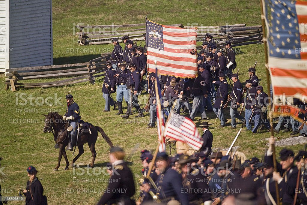 US Civil War Union Infantry in Shenandoah Valley stock photo