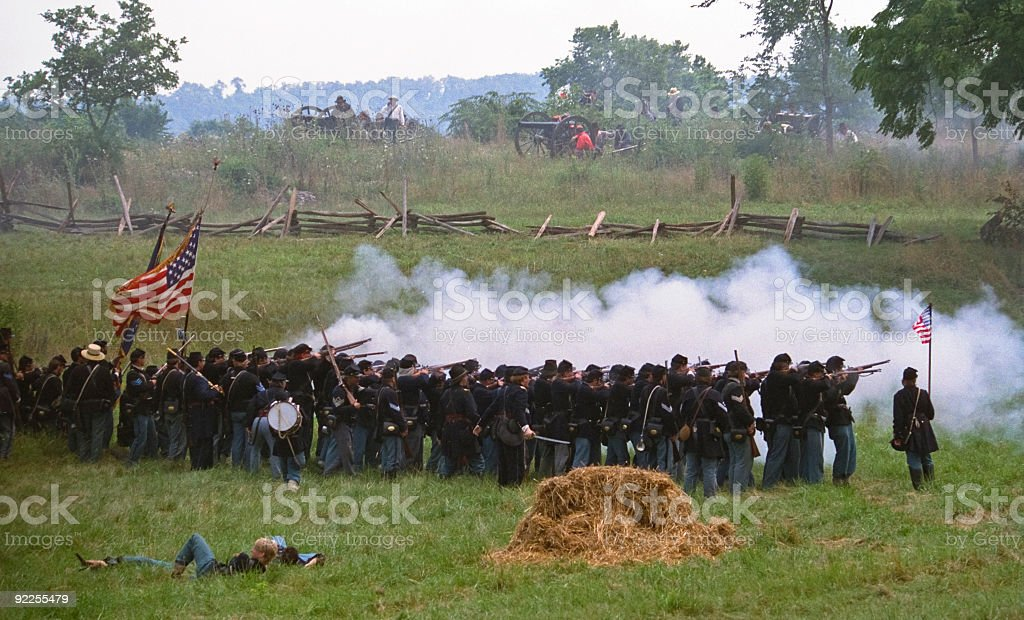 US Civil War Union Infantry Volley Fire on Confederates royalty-free stock photo