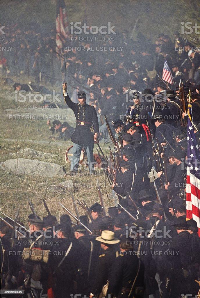 Civil War US Infantry Battlefield in Virginia Officer Leads Advance stock photo