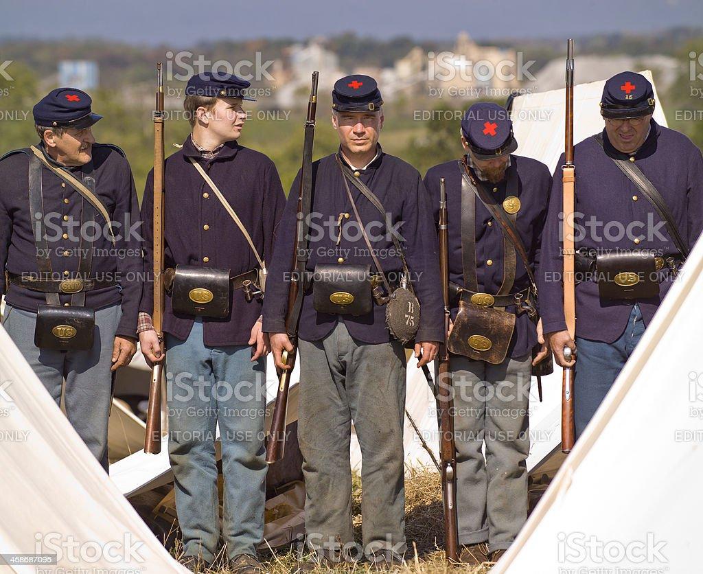 Civil War US Infantry on Battlefield in Virginia stock photo