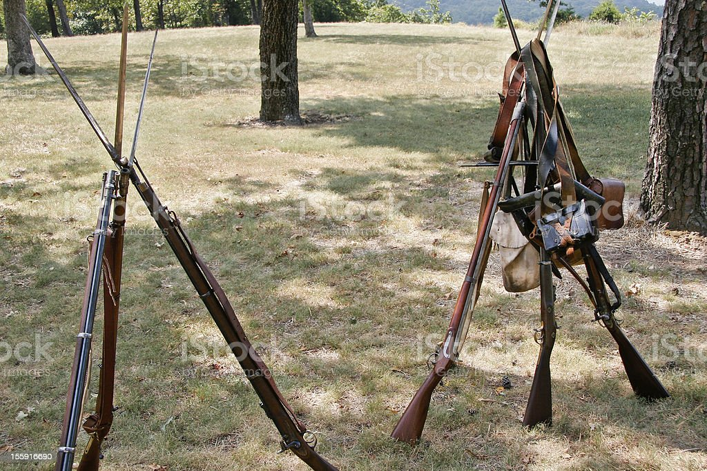 Civil war weapons stack stock photo
