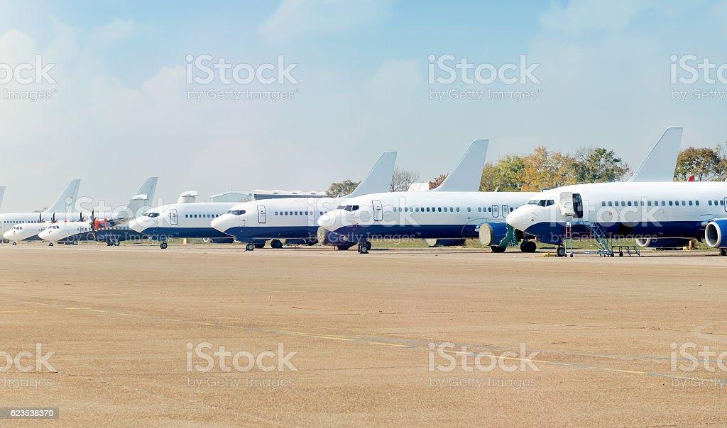 Civilian airplanes stock photo