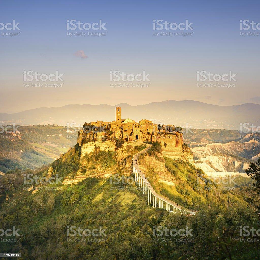 Civita di Bagnoregio landmark, aerial panoramic view on sunset. Italy stock photo