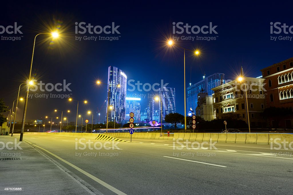 Ciyescape of Macau at night stock photo