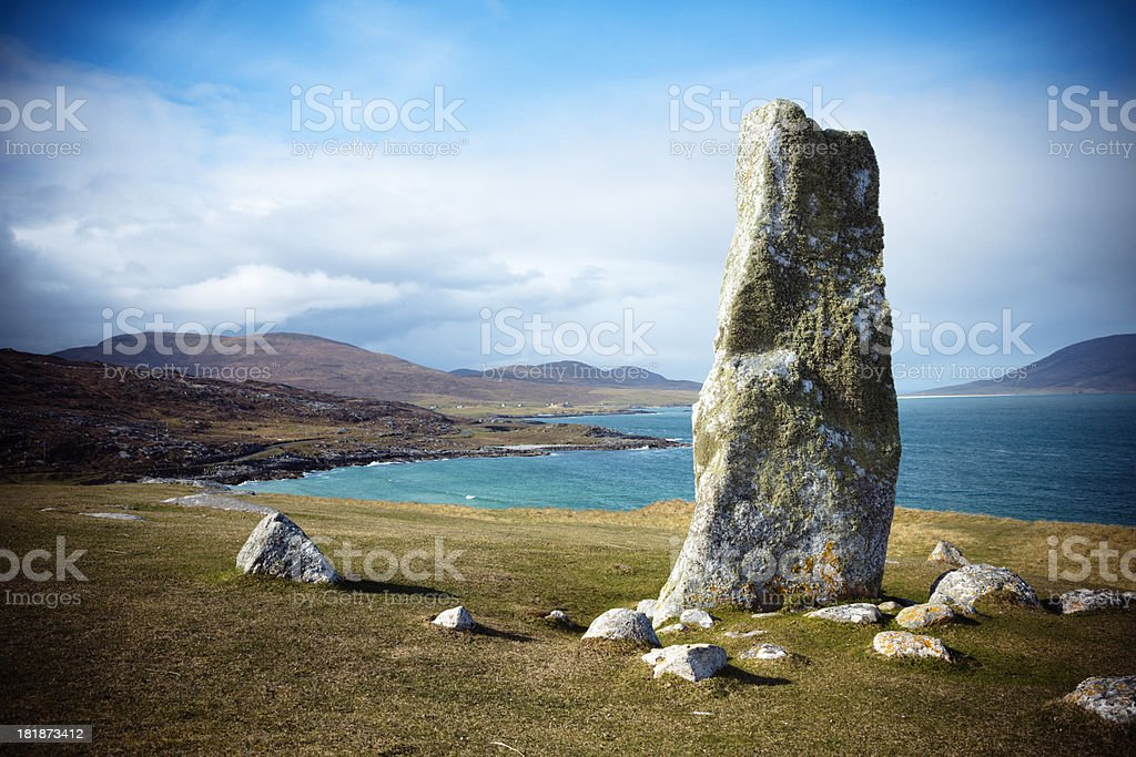 Clach Mhic Leoid Standing Stone, Isle of Harris royalty-free stock photo