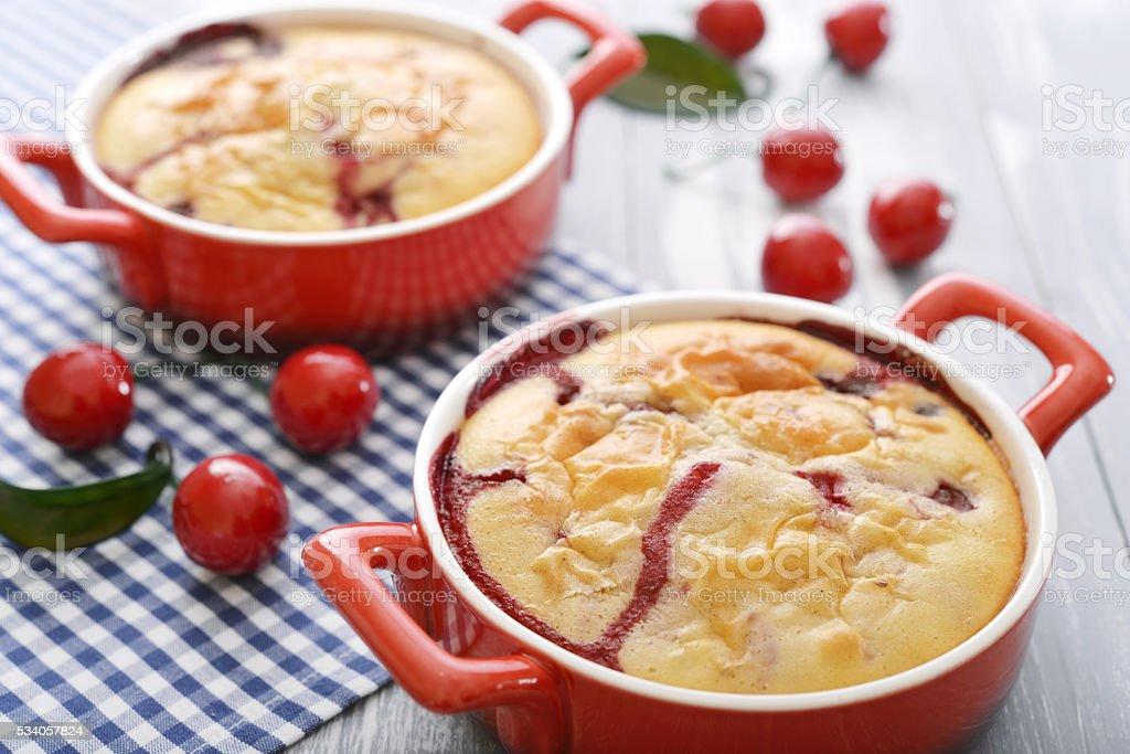Clafoutis with cherries stock photo