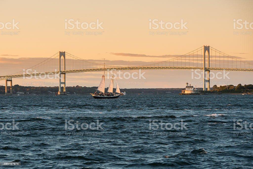 Claiborne Pell Bridge in Newport, Rhode Island. stock photo