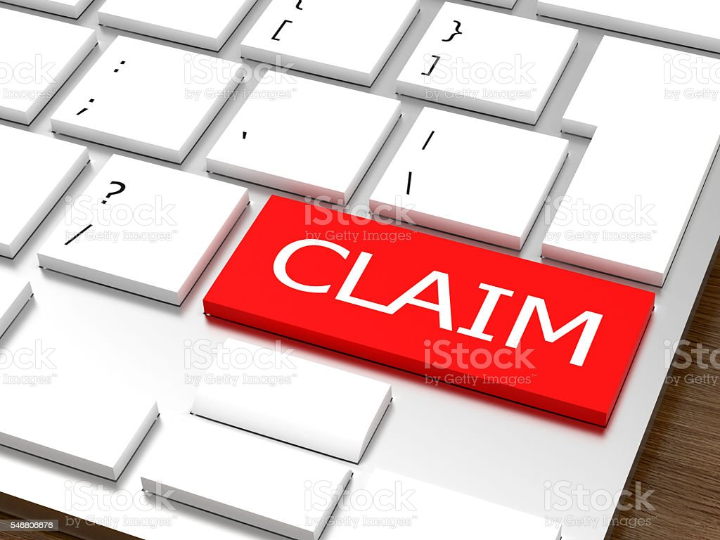 Claim Concept. 3D-rendering business concept stock photo
