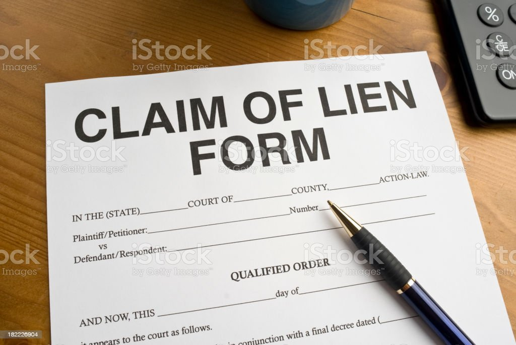 Claim of Lien Form royalty-free stock photo