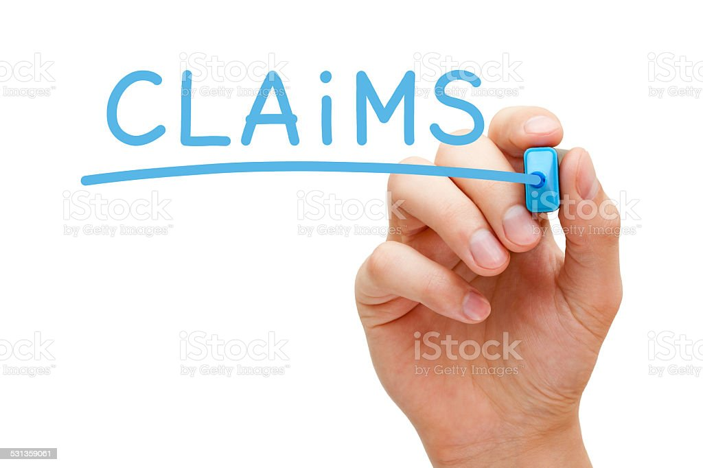 Claims Blue Marker stock photo