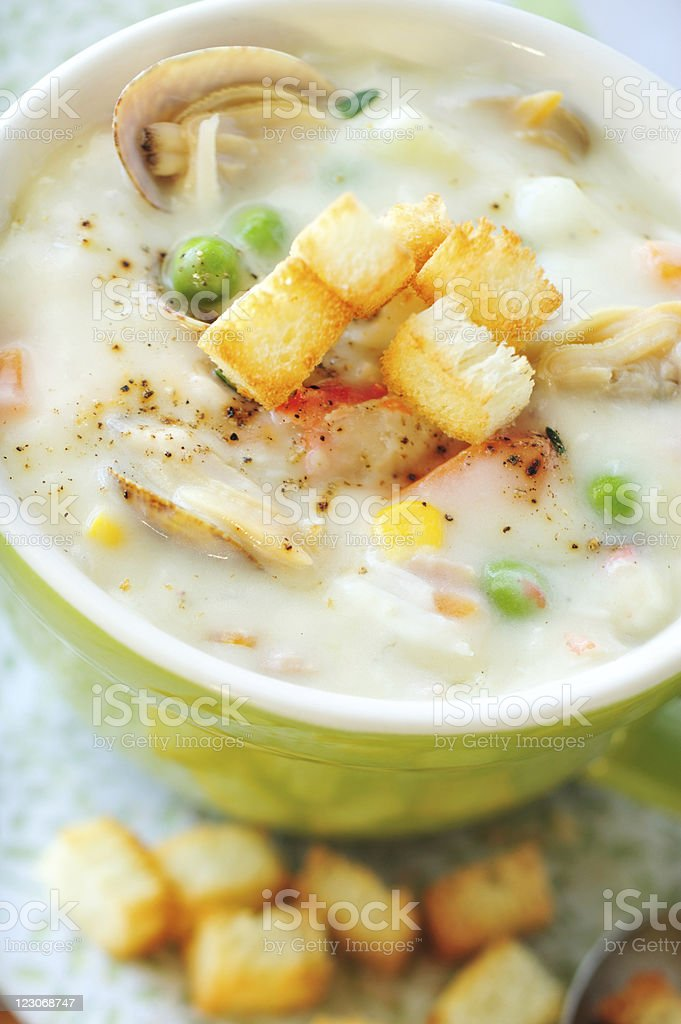 Clam Chowder Close-Up stock photo