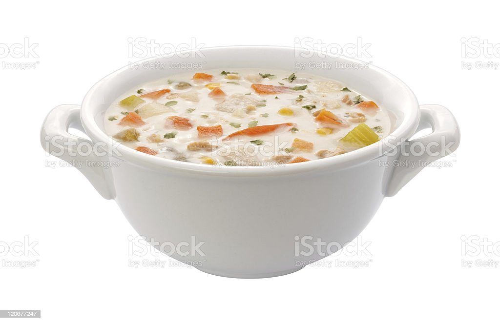 Clam Chowder in a Bowl (clipping path) stock photo