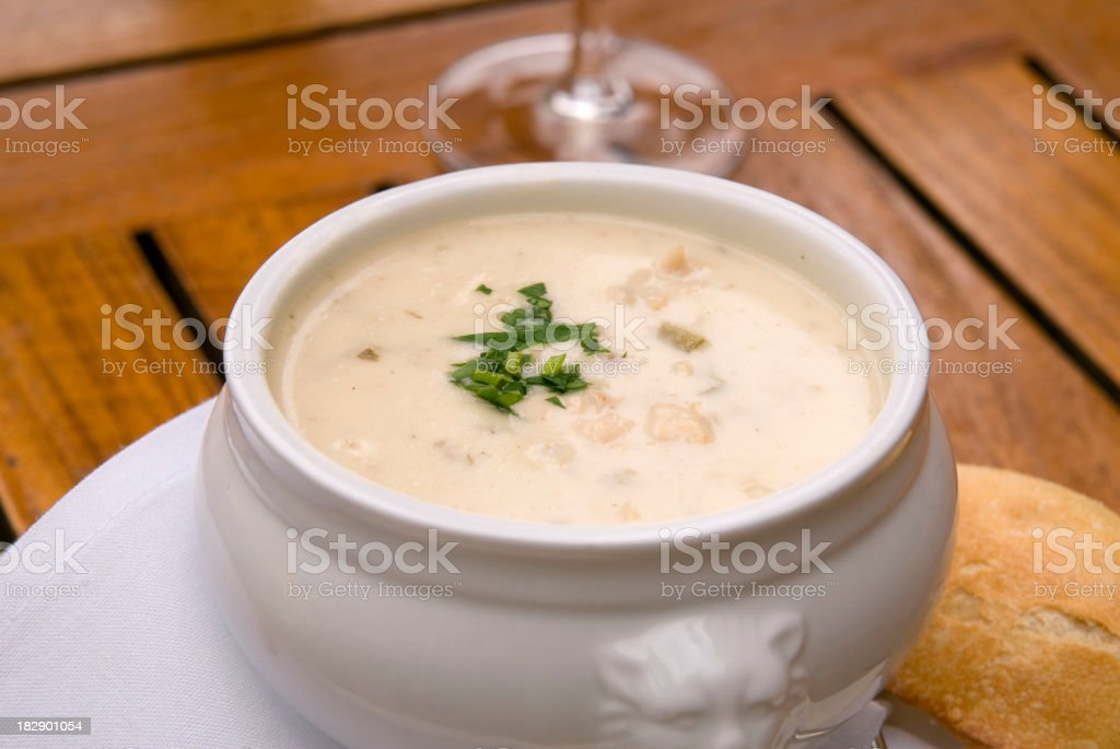 Clam Chowder Seafood Bisque & Bread, Cream Soup Appetizer & Dinner Food stock photo