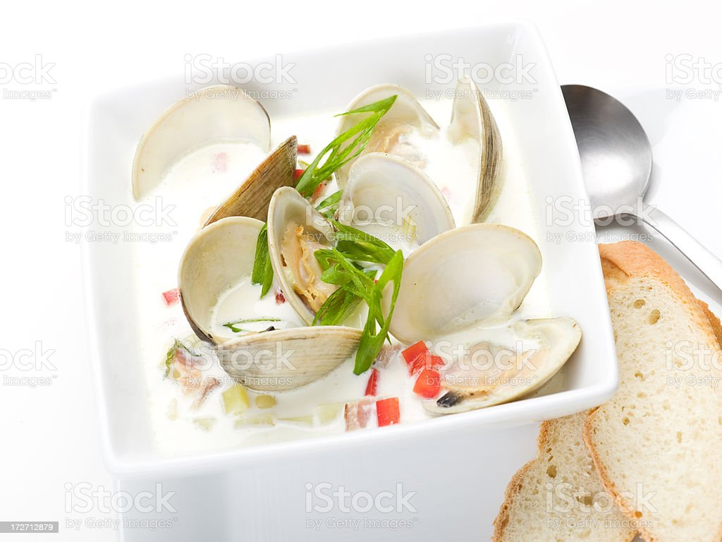 clam corn chowder stock photo