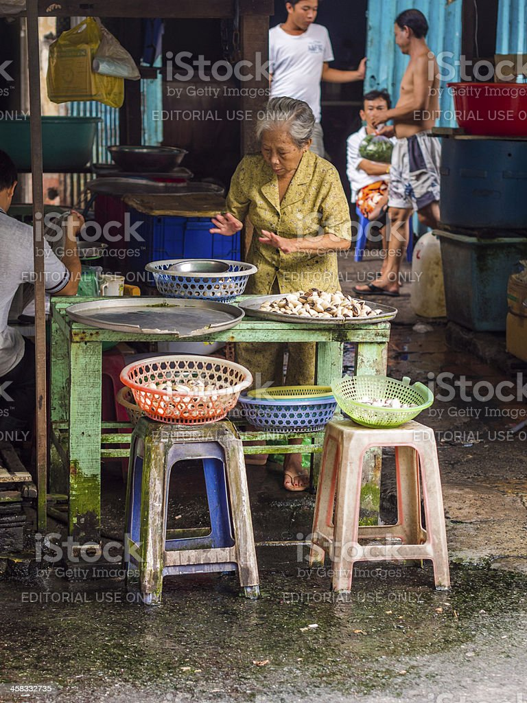Clam stall, Saigon royalty-free stock photo