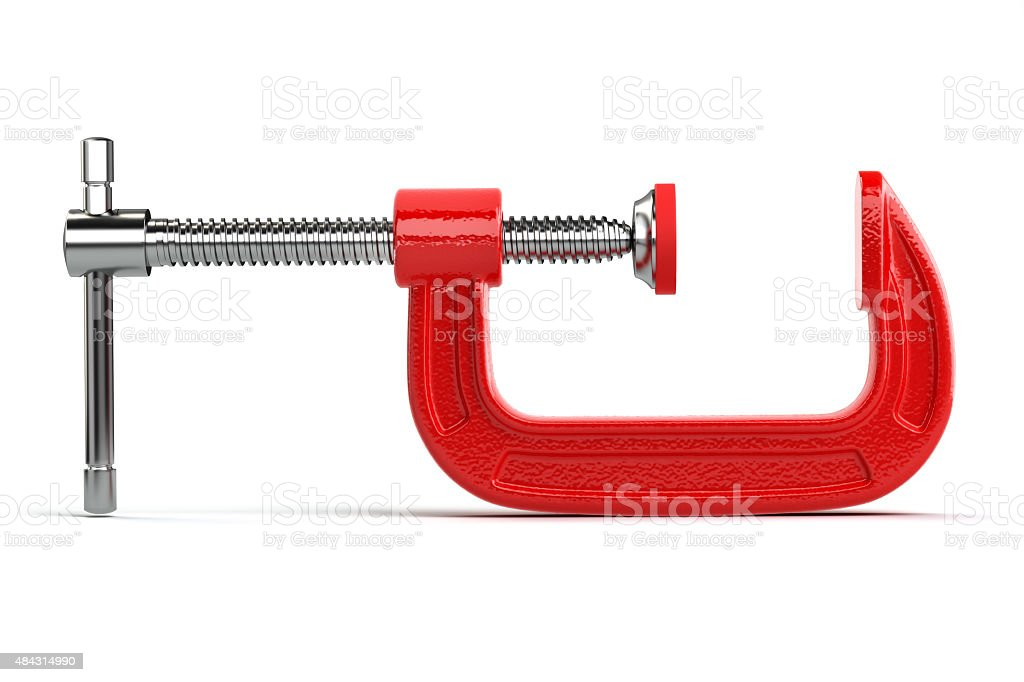 Clamp compression tool isolated on white. stock photo