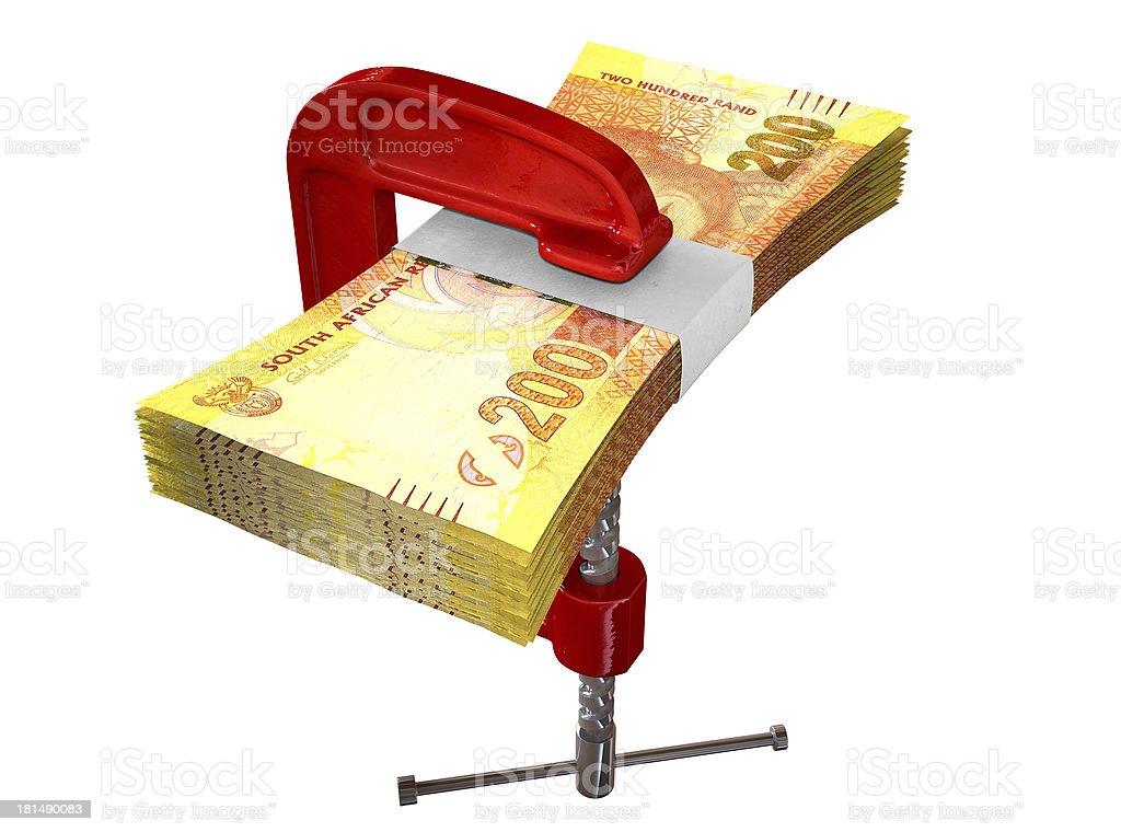 Clamped South African Rand Notes stock photo