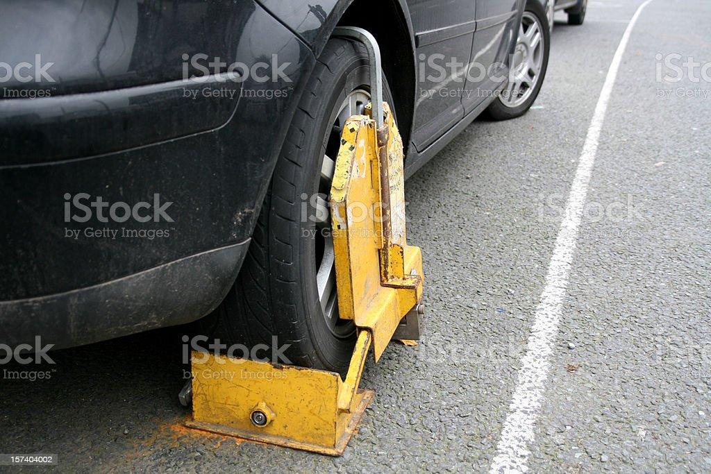 clamped wheel stock photo