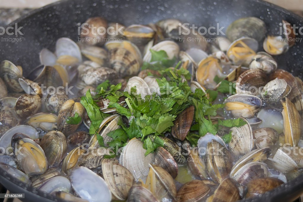 clams in pan stock photo