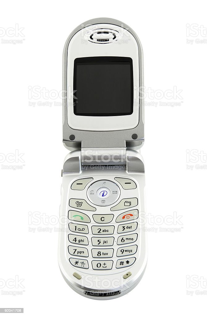 Clamshell cell phone isolated on white (+ clipping path) stock photo