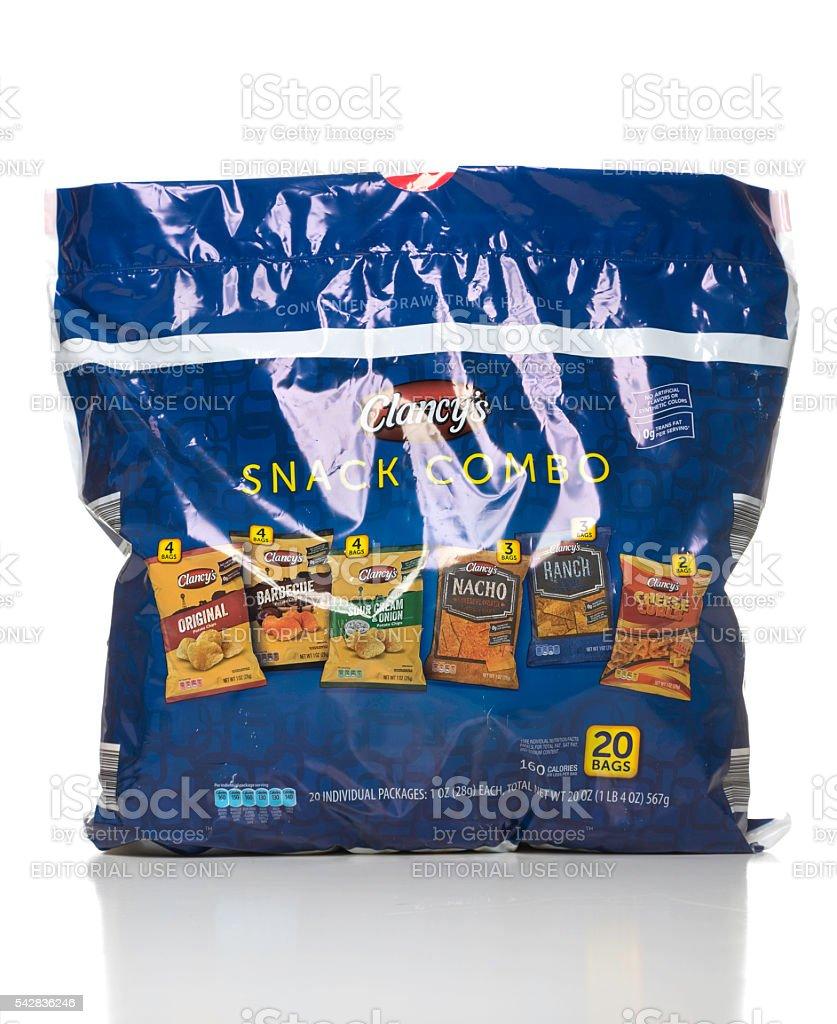 Clancy's snack combo bag stock photo