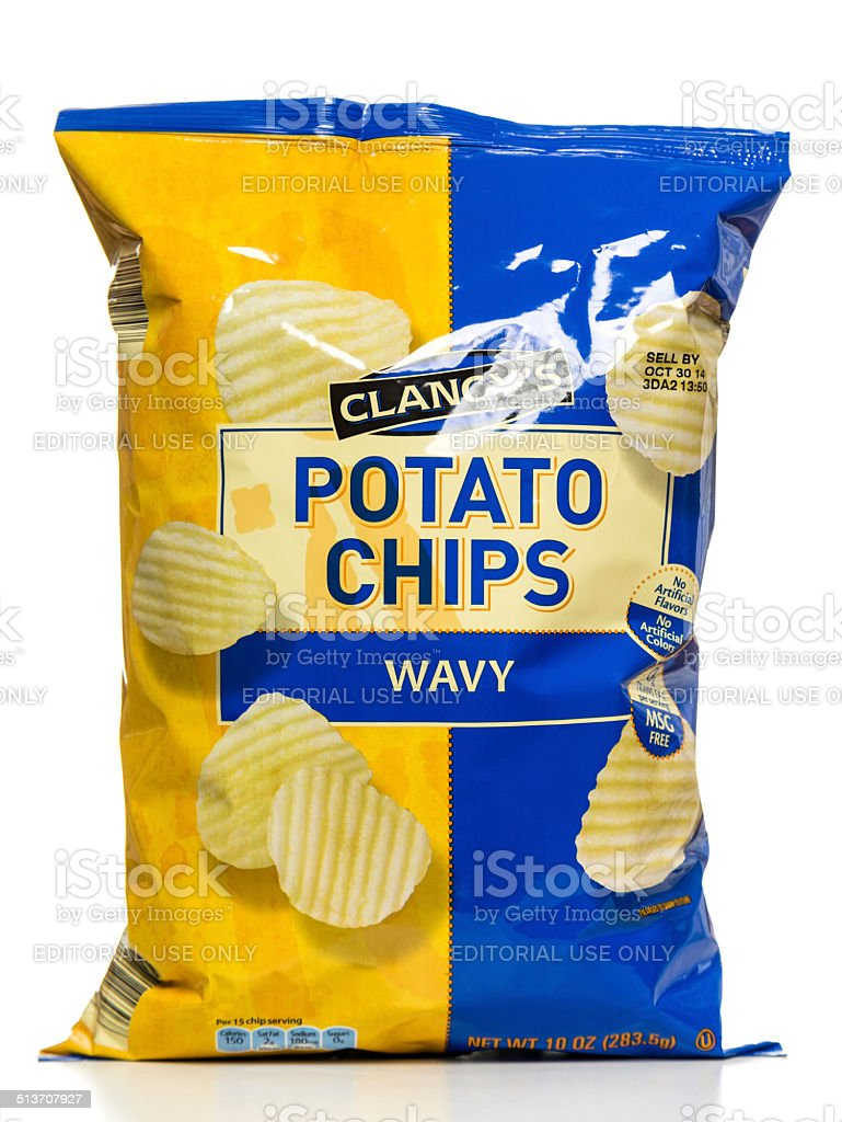 Clancy's Wavy Potato Chips bag stock photo