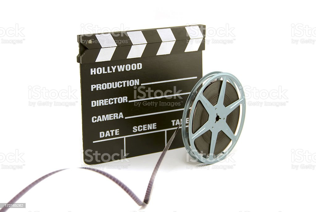 clapboard and film reel royalty-free stock photo
