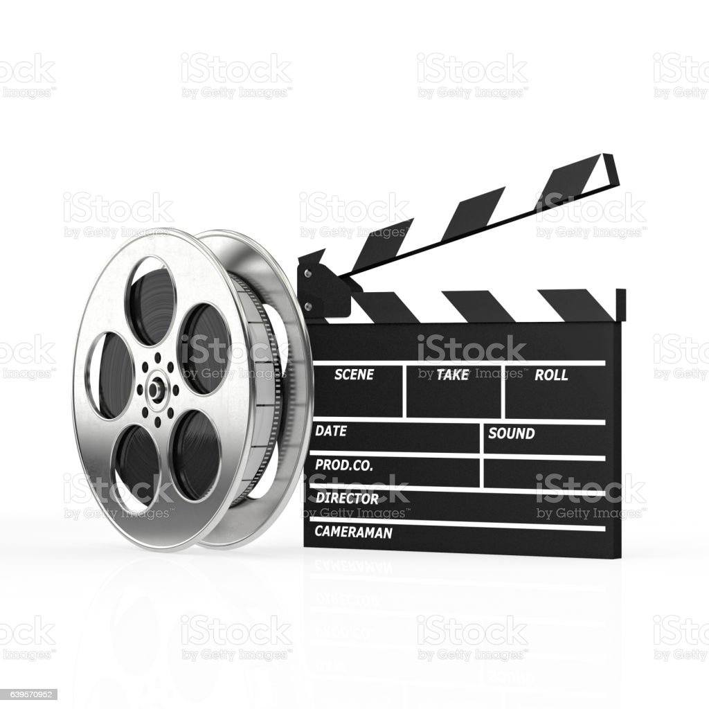 clapboard and film roll stock photo