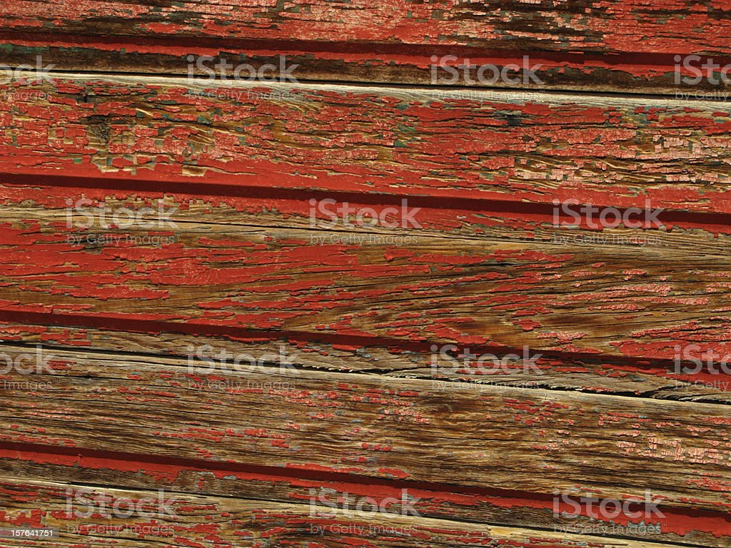 Clapboard Siding Weathered Peeling Red Paint stock photo