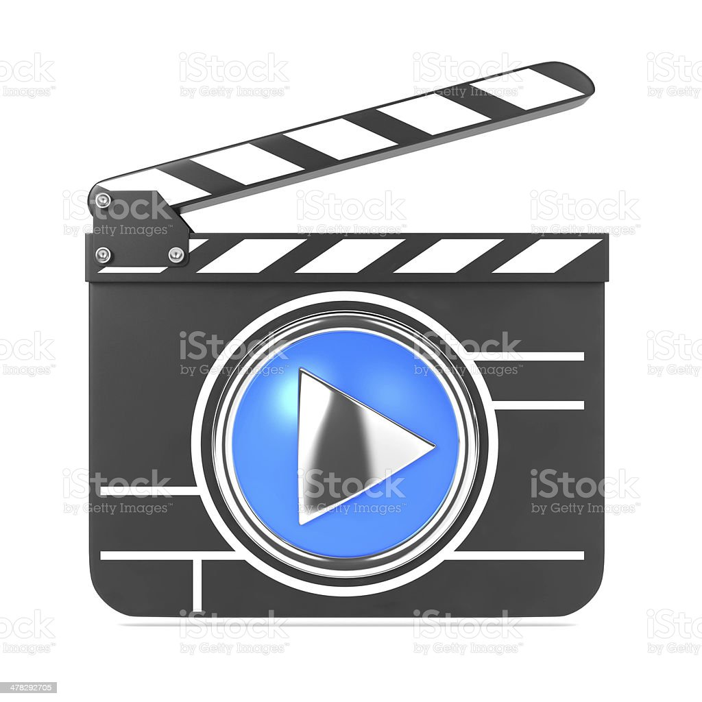 Clapboard with Blue Screen. Media Player Concept. royalty-free stock photo