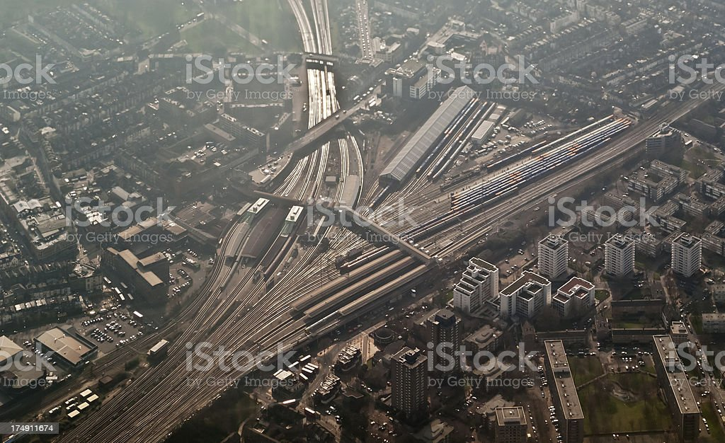 Clapham Junction train station from above stock photo