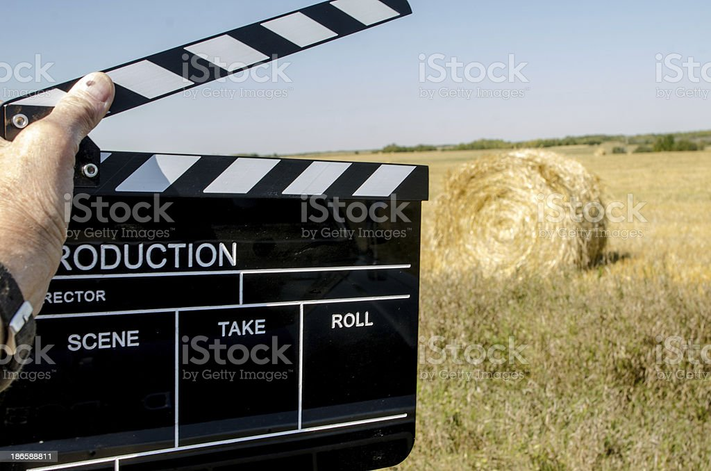 Clapper and Hay Bale stock photo