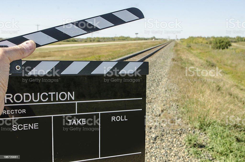 Clapper and Train Tracks stock photo