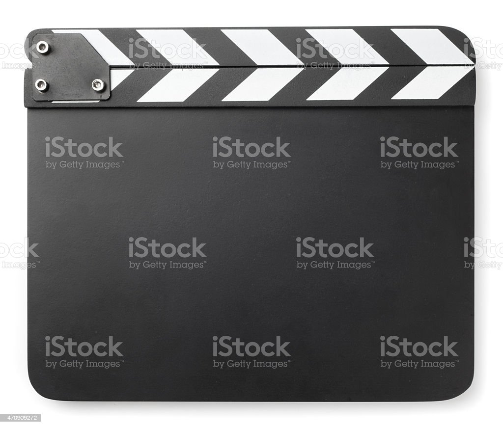Clapper board on white background stock photo