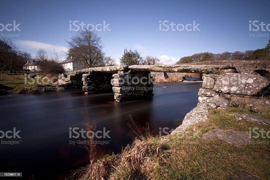Clapper Bridge at Postbridge, Dartmoor, Devon stock photo