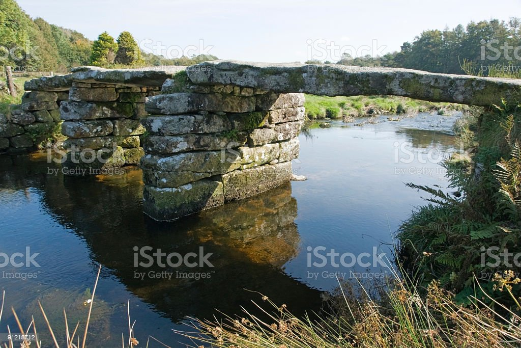Clapper bridge at Postbridge Dartmoor National Park stock photo